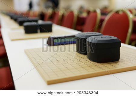 ST. PETERSBURG, RUSSIA - AUGUST 6, 2016: Go game sets prepared for competitions during European Go Congress. 1176 people from 48 countries are registered in this 60th Congress