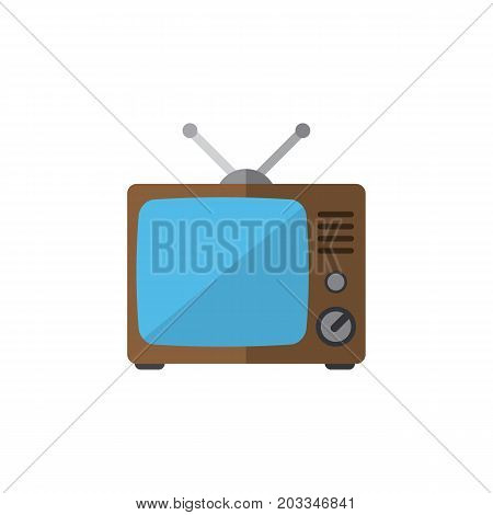 Television Vector Element Can Be Used For Tv, Television, Broadcast Design Concept.  Isolated Old Tv Flat Icon.