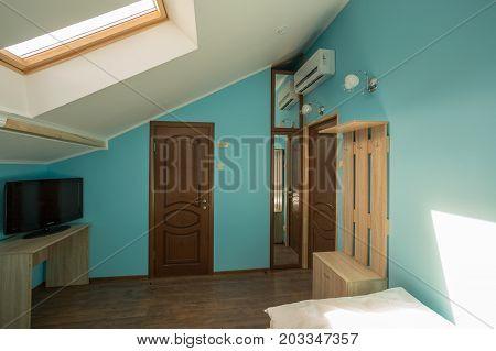 Bedroom Hotel, Hotel, Blue Walls, Skylights