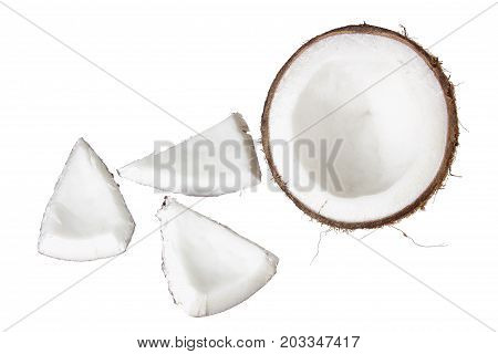 Slices of Coconut on a White Background