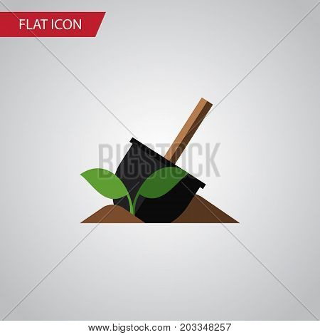 Soil Vector Element Can Be Used For Soil, Sowing, Shovel Design Concept.  Isolated Shovel Flat Icon.