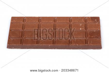 Bar of chocolate isolated on white background