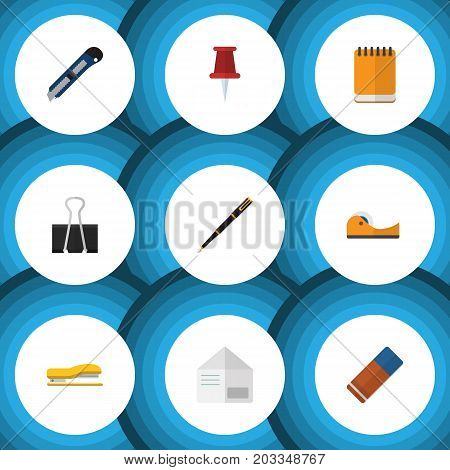 Flat Icon Stationery Set Of Sticky, Paper Clip, Supplies And Other Vector Objects