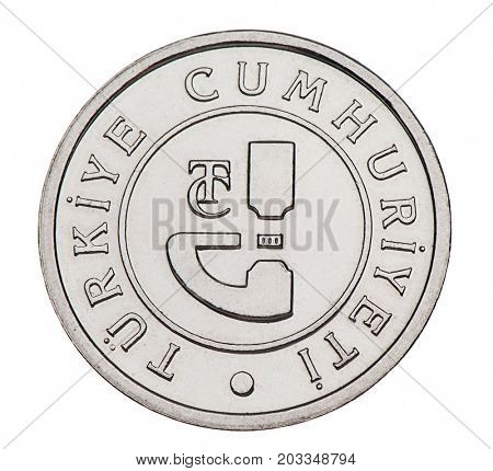 One silver Turkish Lira coin back isolated on white background