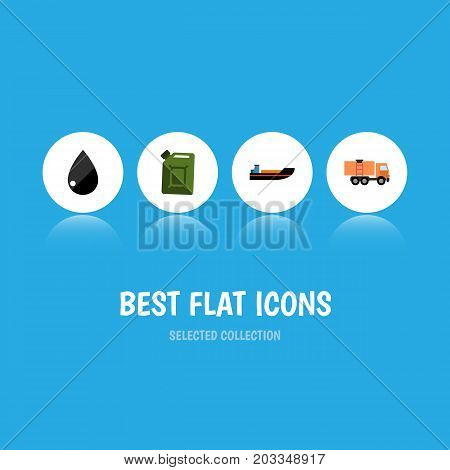 Flat Icon Oil Set Of Fuel Canister, Boat, Droplet And Other Vector Objects