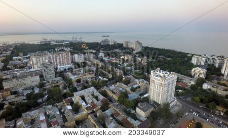 aerial view of Odessa on a summer evening