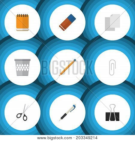 Flat Icon Tool Set Of Drawing Tool, Sheets, Rubber And Other Vector Objects
