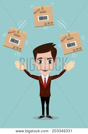 delivery service man with box vector illustration isolated on background. smiling cartoon businessman juggling with cardboard box.