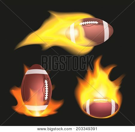 Set of american football or rugby balls flaming on a black background. Sport equipment with fire. Vector illustration
