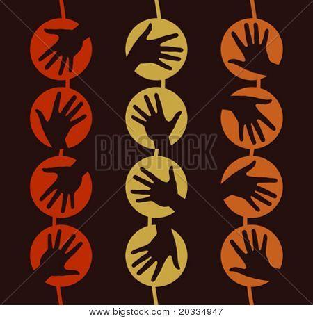 hängende Hand Kreise Design.