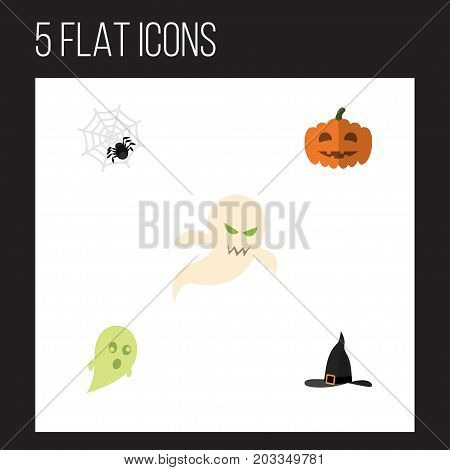 Flat Icon Celebrate Set Of Witch Cap, Phantom, Gourd And Other Vector Objects