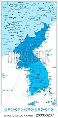 Korean Peninsula Map in colors of blue and blue map pointers North And South Korea Map with cities and capitals.