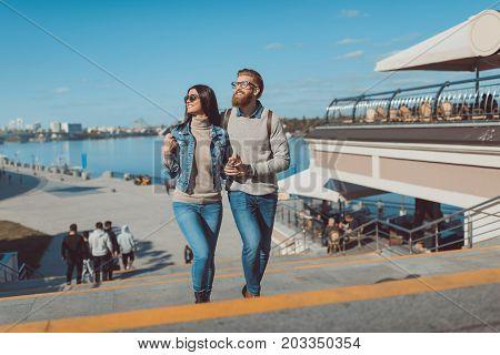 Couple Having Walk Outdoors