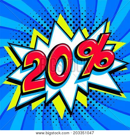 Blue sale web banner. Sale twenty percent 20 off on a Comics pop-art style bang shape on blue twisted background. Big sale background. Pop art comic sale discount promotion banner. Seasonal discounts, Black Friday, the interest rate, etc. Perfect for tags
