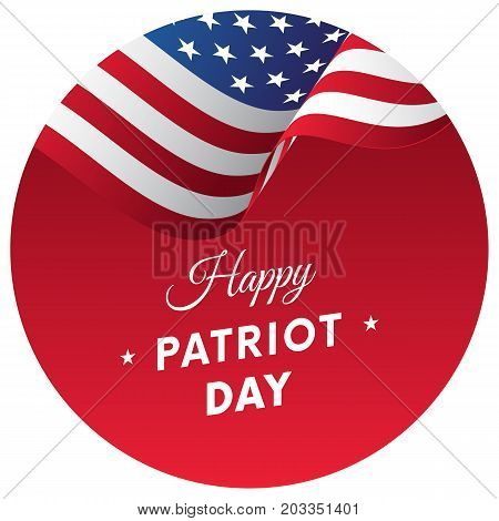 Patriot Day sticker or banner. 11 September. Waving flag. Vector illustration.