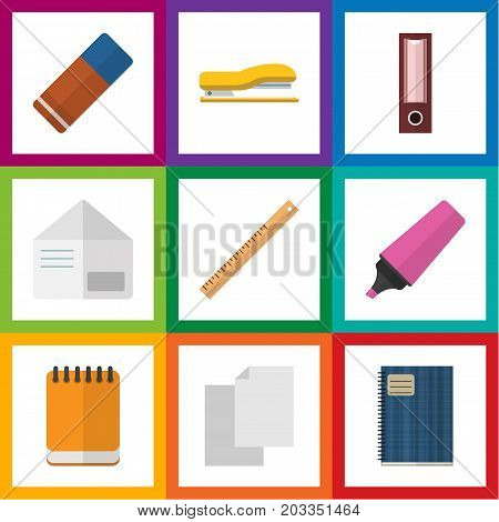 Flat Icon Stationery Set Of Supplies, Notepaper, Copybook And Other Vector Objects