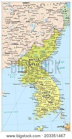Korean Peninsula political map with roads railroads water objects cities and capitals.