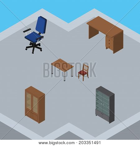 Isometric Furnishing Set Of Cabinet, Office, Chair And Other Vector Objects