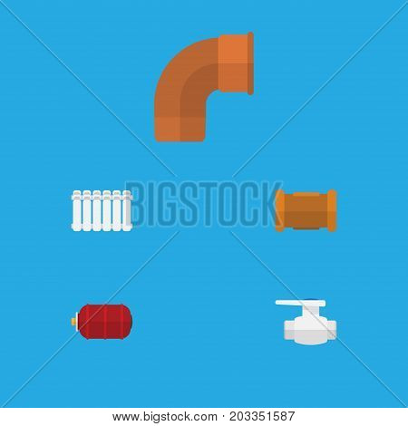 Flat Icon Industry Set Of Radiator, Container, Iron And Other Vector Objects