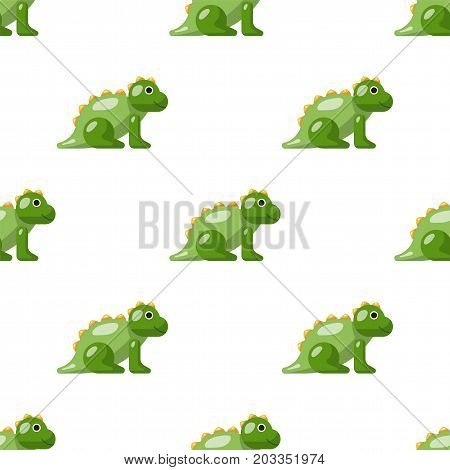 Vector seamless pattern on which are painted the dinosaur. Childrens pattern toy dinosaur isolated on white background