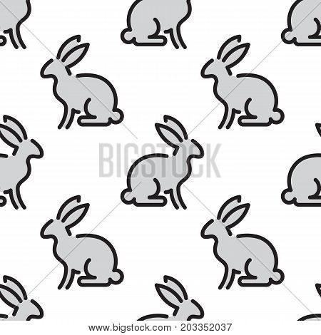 Seamless pattern with rabbit outline, farm animal isolated on a white background. Vector kids pattern silhouette of a rabbit, which can be used for printing, textiles and children clothing.