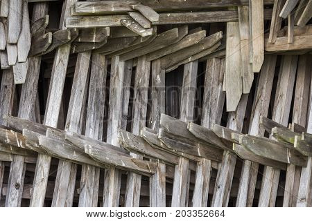 Pile of Hay Stakes in a barn in Montafon Austria