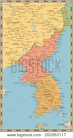 Vintage color political map of the Korean Peninsula Map Of North And South Korea with water objects cities and capitals.