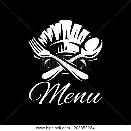 Black vector template with fork spoon and cap for menu.