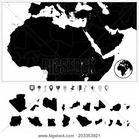 Detailed map of Northern Africa and the Middle East and flat navigation set. Black colors.