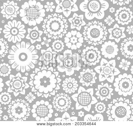 Flowers, background, seamless, white and gray vector.  White decorative flowers on a gray background. Floral seamless background.