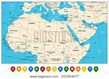 Highly detailed political map of Northern Africa and the Middle East and colored map pointers. Vector illustration.