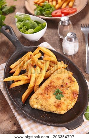 fried cordon bleu with french fries