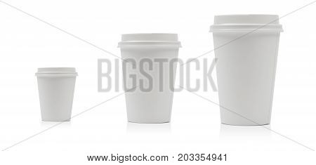 Takeaway paper coffee cup different size isolated on white background including clipping path.