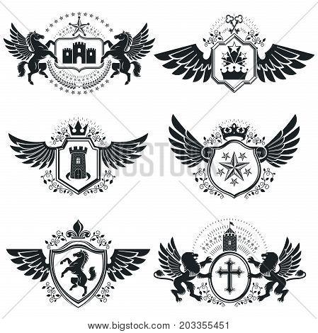 Vintage heraldry design templates vector emblems. Collection of symbols in vintage style.