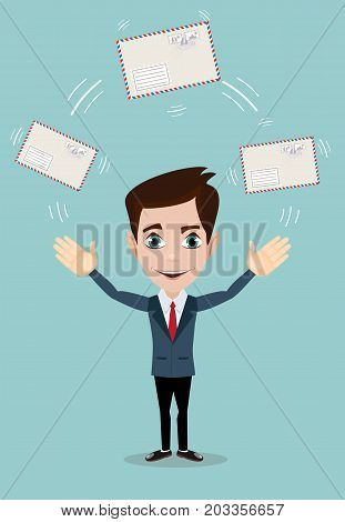Cheerful business man with big envelope. Vector flat design illustration isolated on white background