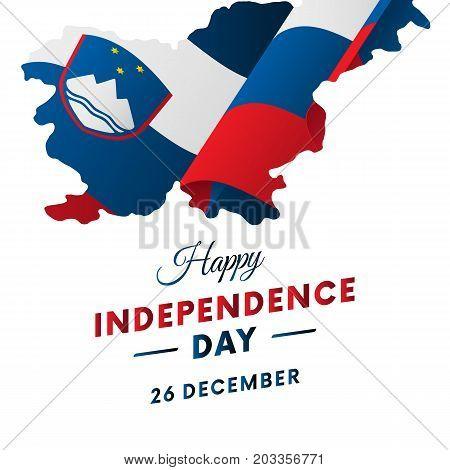 Banner or poster of Slovenia independence day celebration. Slovenia map. Waving flag. Vector illustration.