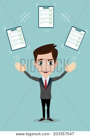 Businessman with a questionnaire with green tick . Flat design clip board and check marks. Stock vector illustration.