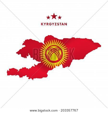 Kyrgyzstan map with waving flag. Vector illustration.