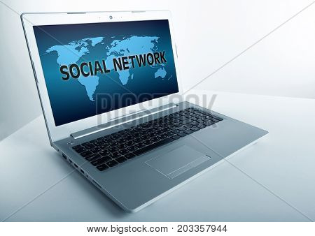 open laptop with inscription social network image