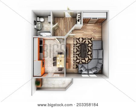 Interior Apartment Roofless Top View Apartment Layout 3D Render