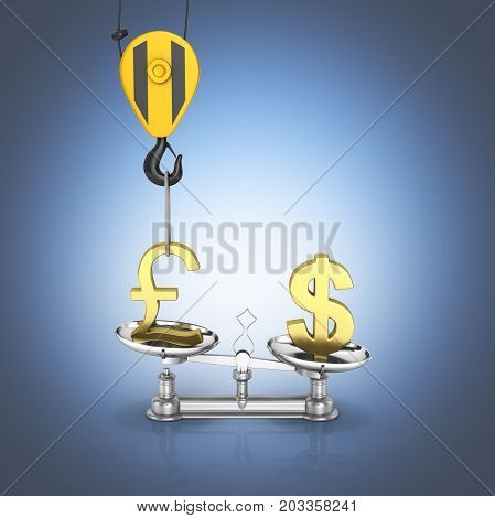 Concept Of Exchange Rate Support Dollar Vs Euro The Crane Pulls The Pound Up And Lowers The Dollar S
