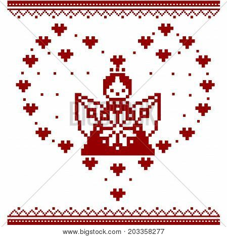 Angel. Pixel art angel. Cupid. Cross stitch Vector Embroidery