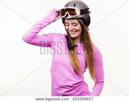 Woman With Sporty Helmet.