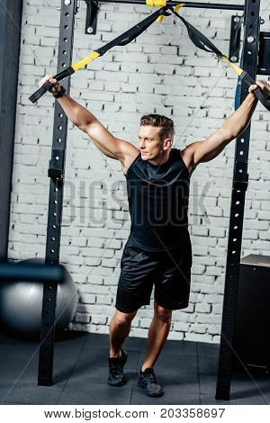 Sportsman With Trx Resistance Bands