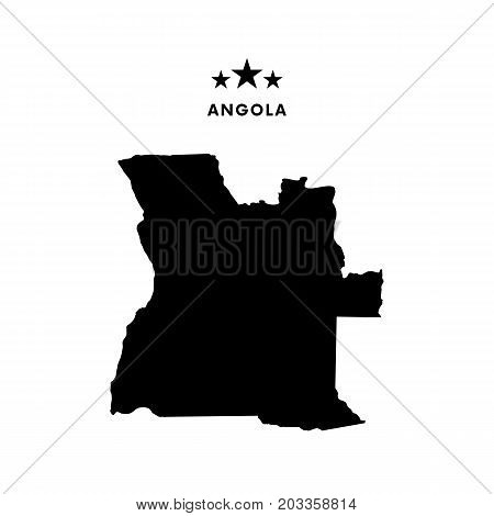 Angola map. Stars and text. Vector illustration.