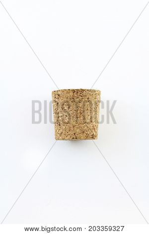 Side view of cork stopper isolated on white