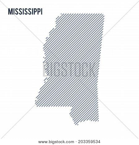 Vector Abstract Hatched Map Of State Of Mississippi With Oblique Lines Isolated On A White Backgroun