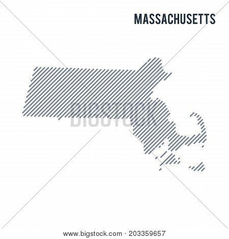 Vector Abstract Hatched Map Of State Of Massachusetts With Oblique Lines Isolated On A White Backgro