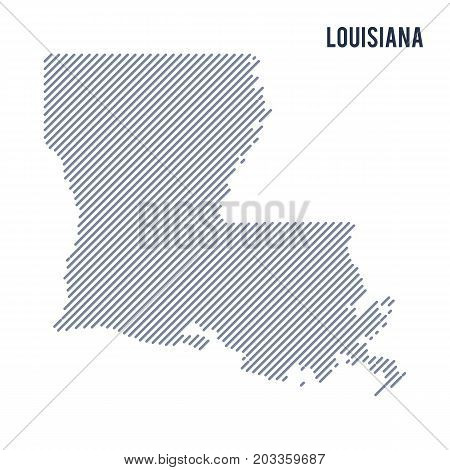 Vector Abstract Hatched Map Of State Of Louisiana With Oblique Lines Isolated On A White Background.