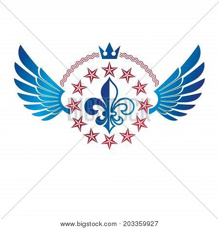 Military Star emblem winged victory award symbol created using imperial crown. Heraldic Coat of Arms decorative logo isolated vector illustration.